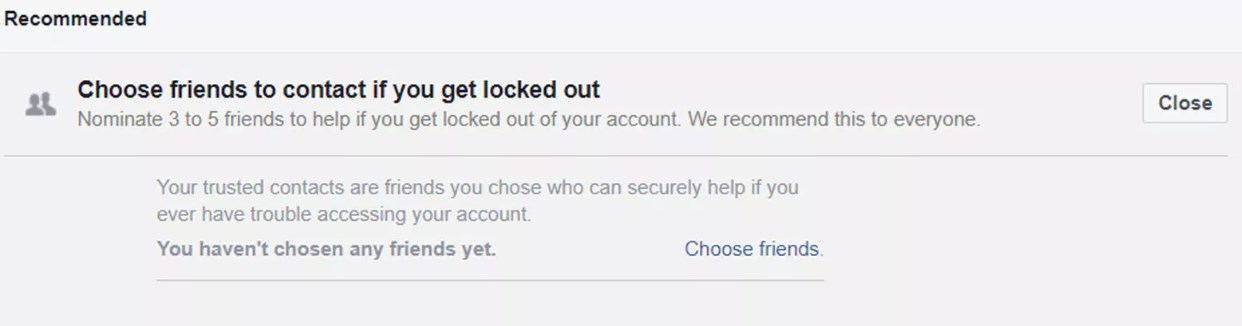 Add trusted contact to recover facebook password